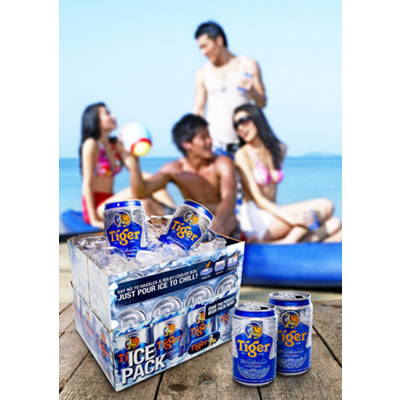 Tiger Beer 12 Can Ice Pack at the Beach