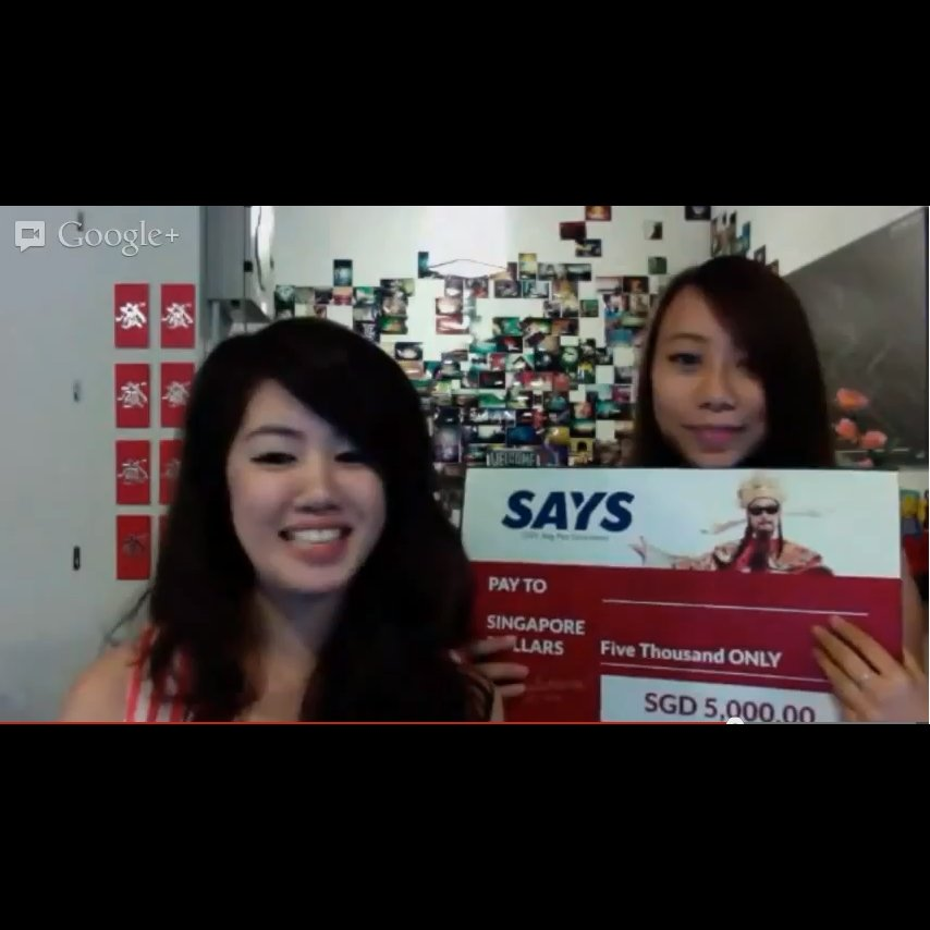 SAYS CNY 2013 5K Ang Pao GiveAway Hosts - Serene and Michelle