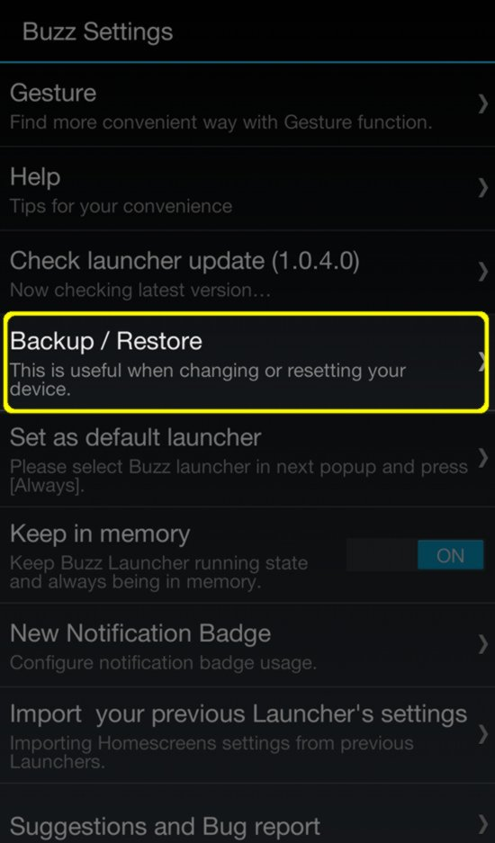 Buzz Launcher - Backups
