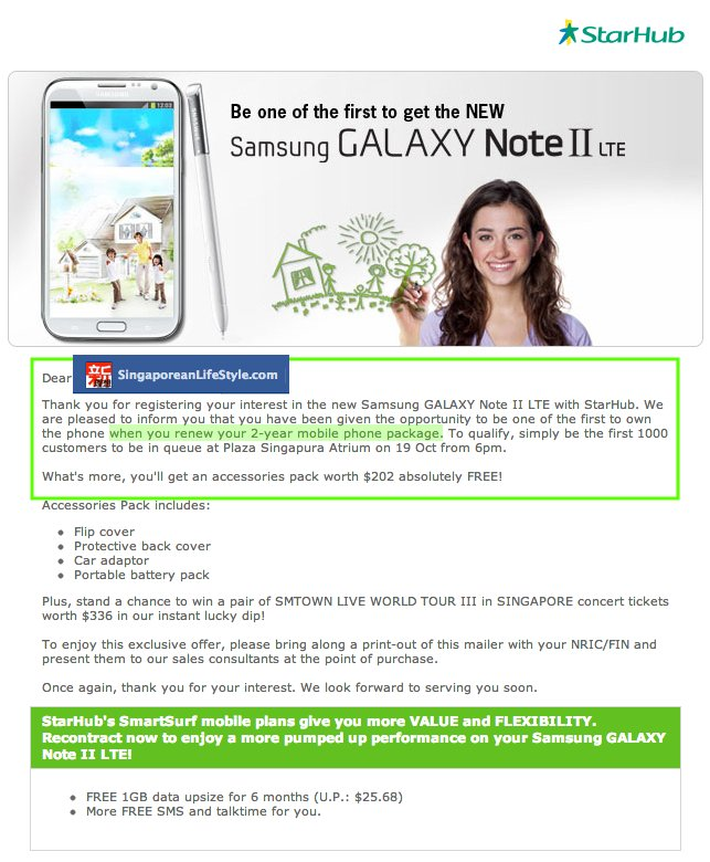 StarHub Samsung Note II LTE Launch - Eligible For Recontract