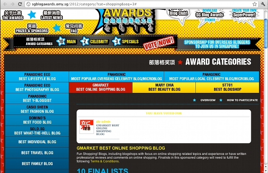 Singapore Blog Awards 2012 - Vote For SINGAPOREAN LifeStyle Everyday