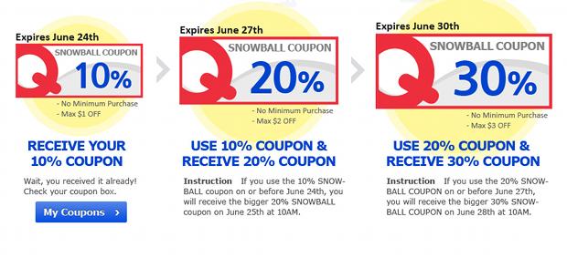 Qoo10 Singapore SnowBall Coupon Event
