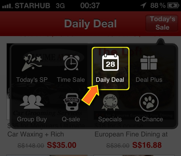 Qoo10 Singapore Daily Deals from Mobile App