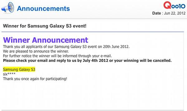 Winner Of Free Samsung S3 Announced!