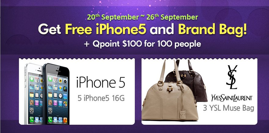 FREE iPhone 5 And Branded Bags From Qoo10 Singapore