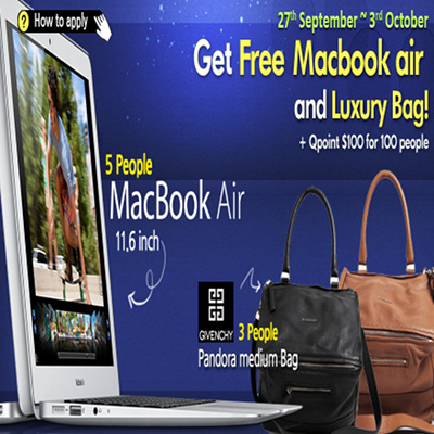 Qoo10 Free MacBook Air and Givenchy Bags