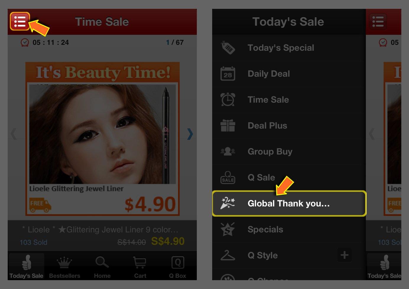 Qoo10 Mobile App Event Link Alternate