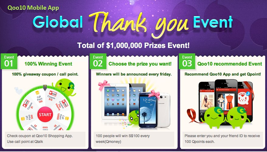 Qoo10 Singapore 1million dollars Prizes Event