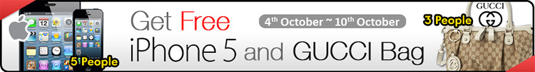 Qoo10 FREE iPhone 5 and Gucci Bags This Week