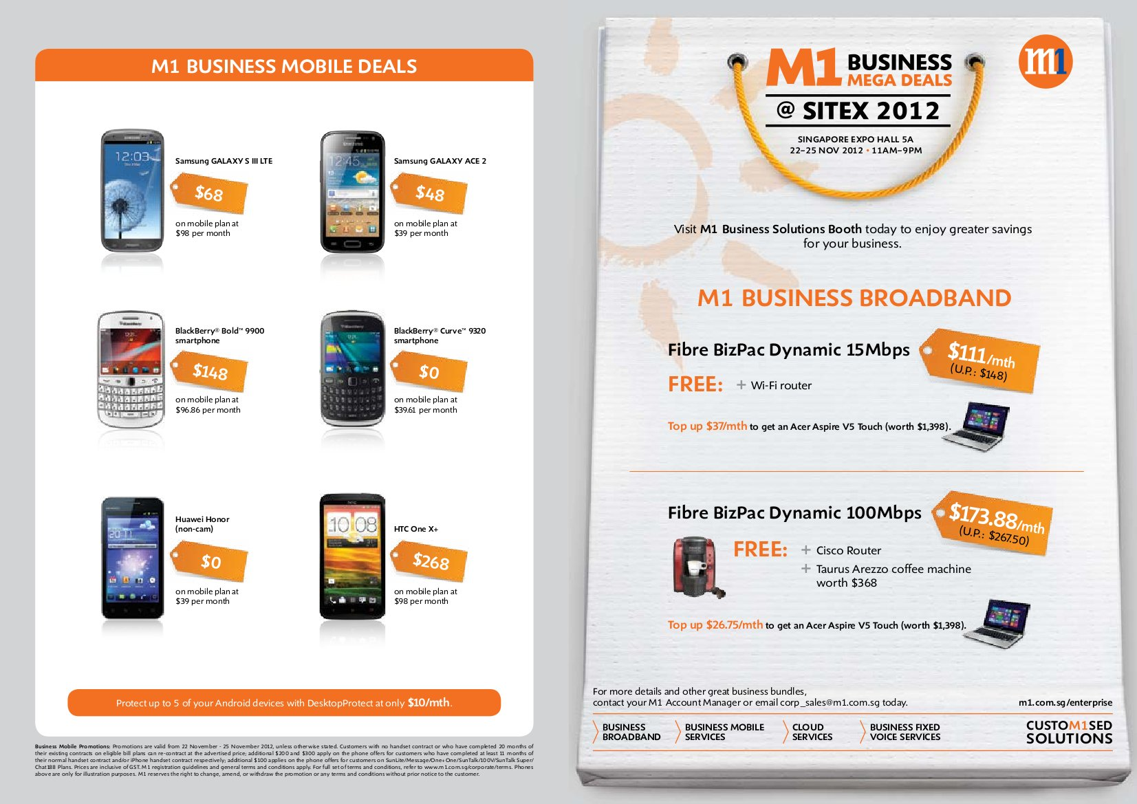 SITEX 2012 M1 Business Broadband And Mobile Deals 1