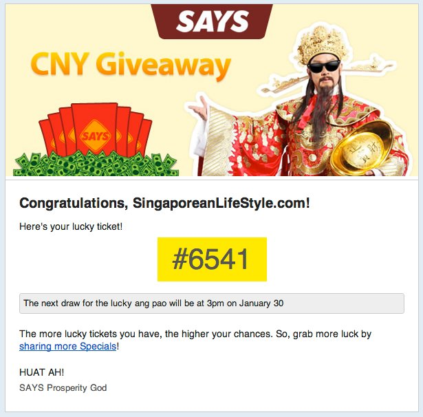 SAYS CNY 2013 SingaporeanLifeStyle Lucky Ticket #6541
