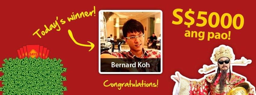 SAYS CNY 2013 5K Ang Pao GiveAway Winner - Bernard Koh