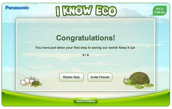 Panasonic i Know Eco Quiz - Perfect Score - Singaporean LifeStyle
